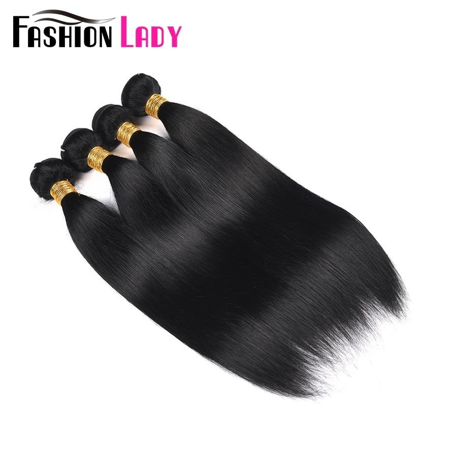 Fashion Lady Pre-Colored Malaysian Straight Hair Bundles 1# Jet Black Hair 4 Bundles Human Hair Weave Non-Remy Hair Extension