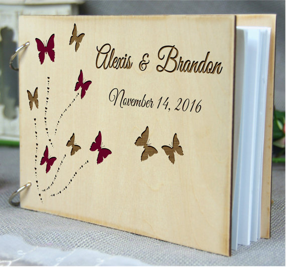 custom wedding anniversary bridal shower butterfly guest book personalized rustic wedding gift memory book