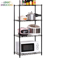 4 Layers Multifunction black Storage Holder Kitchen Organizer Racks plastic Rust proof pipe Microwave oven Shelf furniture