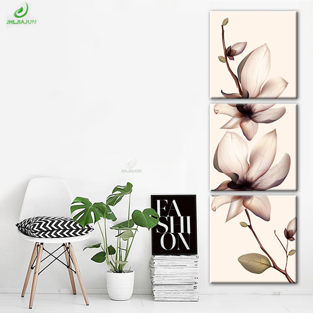 3 Pieces Lotus Art Paintings Corridor Canvas Prints for Living Room Modular Picture Decor Artwork on the Wall Canvas Art Framed
