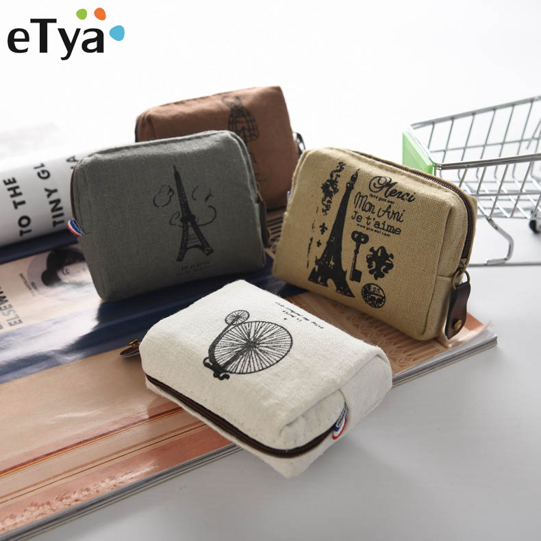 eTya Coin Purses New Style Canvas Coin Wallet High Quality Child Women Change Purse Lady Portable Small Zipper Key Pouch Gift etya cute cartoon purses pu leathe animal printing coin purses women wallet high quality zipper female credit card bag key pouch