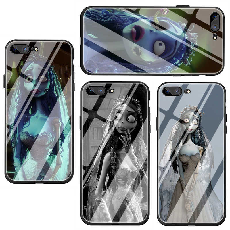 Tim Burton's Corpse Bride Tempered Glass phone cover case for iphone 5 5s SE 6 6s 7 8 Plus X XR XS 11 pro Max