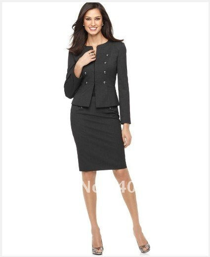 Women's Suit   Long Sleeve Military Cadet Jacket & Pencil Skirt   Custom Women Suit  684