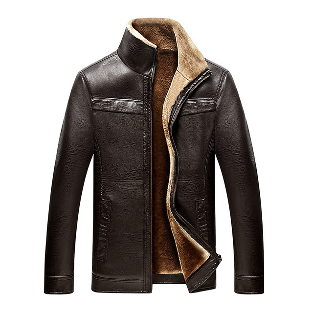 New Business casual Winter Very warm Thick Faux Fur Leather Jacket ...