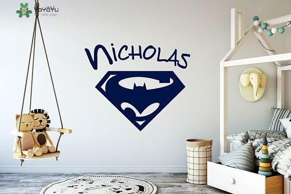Superhero Personalisierte Name Vinyl Wandaufkleber Für Kinderzimmer ...