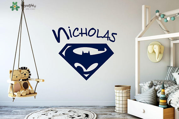 Superhero personalized name vinyl wall stickers for kids room boy bedroom wall decal playroom interior window