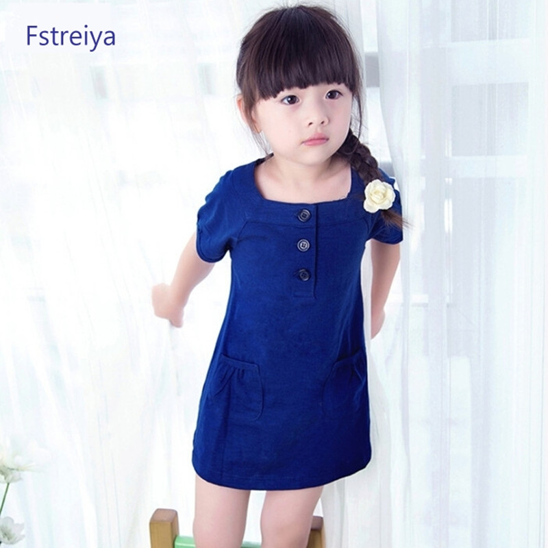 Featured girls dresses cotton girl party dress childrens short-sleeved dress cute baby coat solid kids pretty clothes size 2T-8T