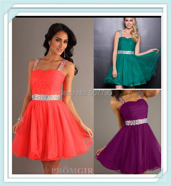 US $99.0 |H C023 Custom made strap beaded new arrival nice dresses A line  junior plus size homecoming dresses-in Homecoming Dresses from Weddings &  ...
