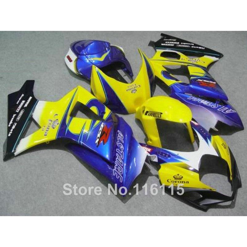 Livraison personnaliser carénage kit pour SUZUKI GSXR 1000 K7 K8 2007 2008 carénages jaune bleu Corona 07 08 GSXR1000 ABS bodykits JS34