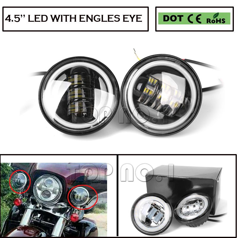 Здесь можно купить  2pcs 4.5 inch Motorcycle Led Fog Light DRL Led Fog Angel Eyes 30W Round Waterproof 4 1/2 Auxiliary Passing Lamp for Harley  Автомобили и Мотоциклы