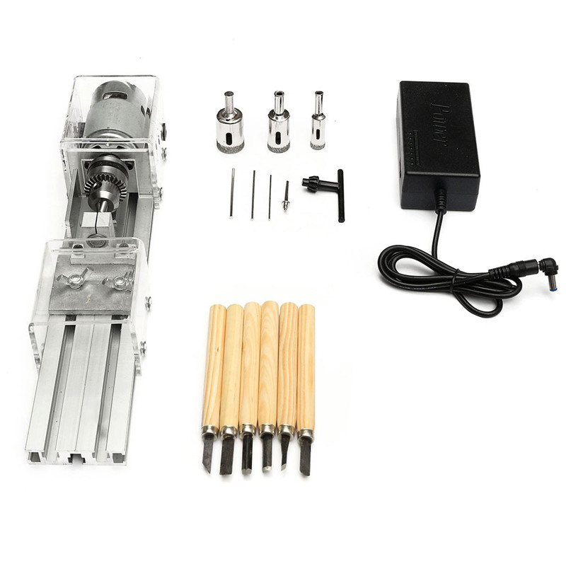 Us Plug,Mini Lathe Beads Machine Woodworking Diy Lathe Polishing Cutting Set With Dc 24V Power Supply Adapter