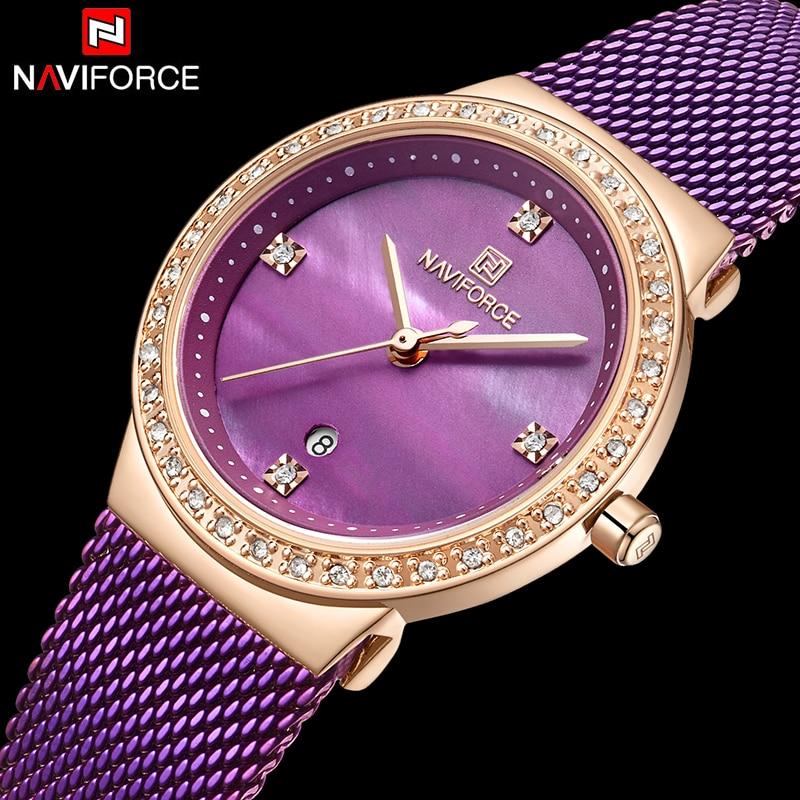 NAVIFORCE Fashion Luxury Ladies Crystal Watch Waterproof Rose Gold Steel Mesh Quartz Women Watches Top Brand Relogio Feminino Quartz Watches     - title=