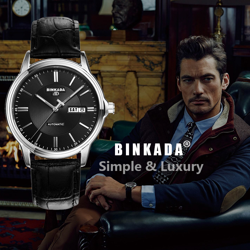 새로운 클래식 간단한 binkada 자동 시계 남자 고품질의 기계식 럭셔리 브랜드 비즈니스 시계 캐주얼 남성 relogio-에서기계식 시계부터 시계 의  그룹 2