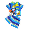 2016 Summer boy fashion suit cartoon Mickey Mouse Donald Duck striped short-sleeved o-neck tops + shorts children's two-piece