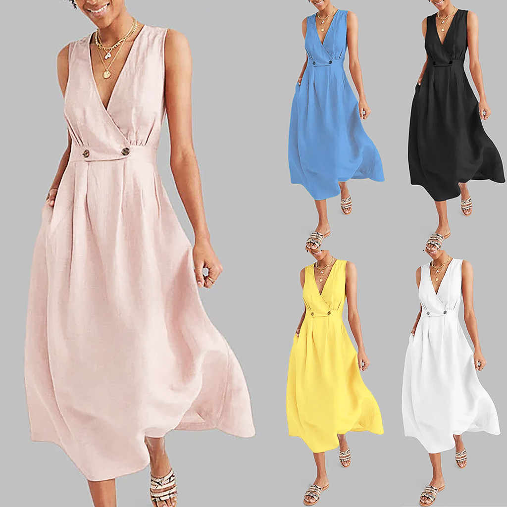 Women Dress V-Neck Pure Color Vest Sleeveless Button Easy Sandy Beach Dress Summer Ladies Party Dress Maxi Vestidos Plus Size40#