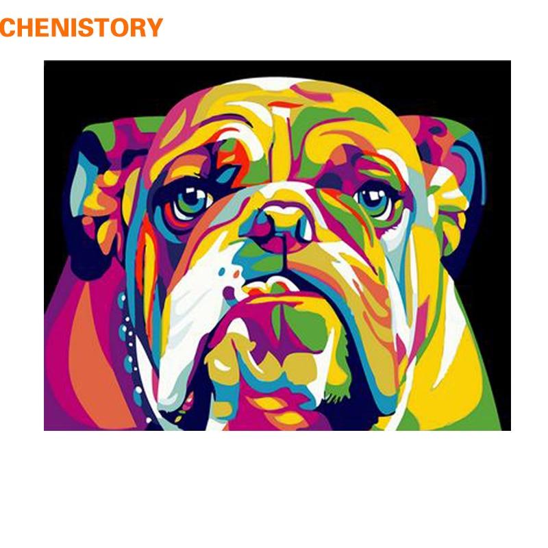 CHENISTORY Hund DIY Malerei Durch Zahlen Tiere Malerei Kalligraphie Acryl Malen Nach Zahlen Für Home Dekore 40x50 cm kunstwerke