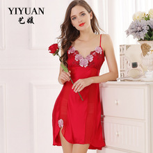 100% Natural Silk Nightdress Female Upscale Summer Embroidery V-Neck Nightgowns Real Women Sleepwear D33130