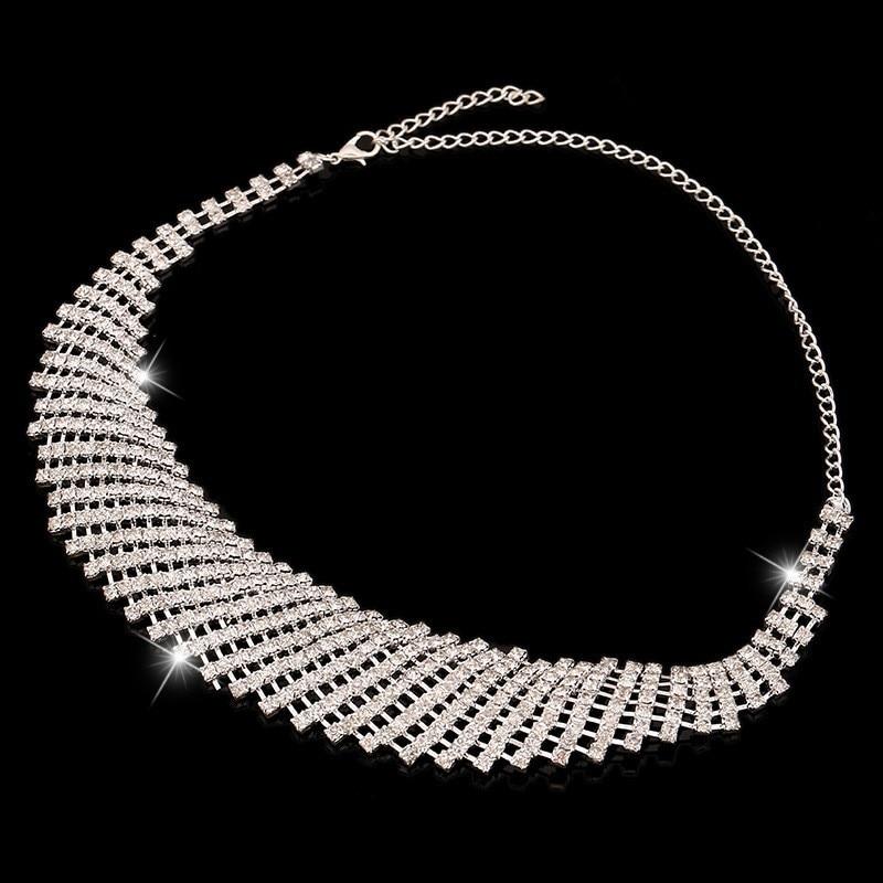 (4) - Bijoux De Mariage Luxueux, Goutte Boucle D'oreille Collier Ensemble Autriche Cristal,