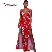 2017 Sexy High Split Red Floral Print Women Jumpsuit Elegant Maxi Long Rompers Club Wear Party