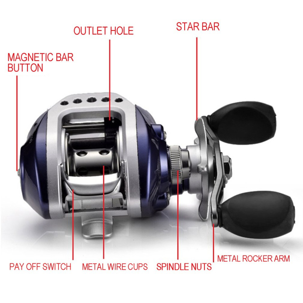 Drop Shipping 10+1BB Bait Casting Fishing Reel Gear Ratio 6.3:1 Baitcasting Fishing Reel With Magnetic Brake Pesca Top Quality