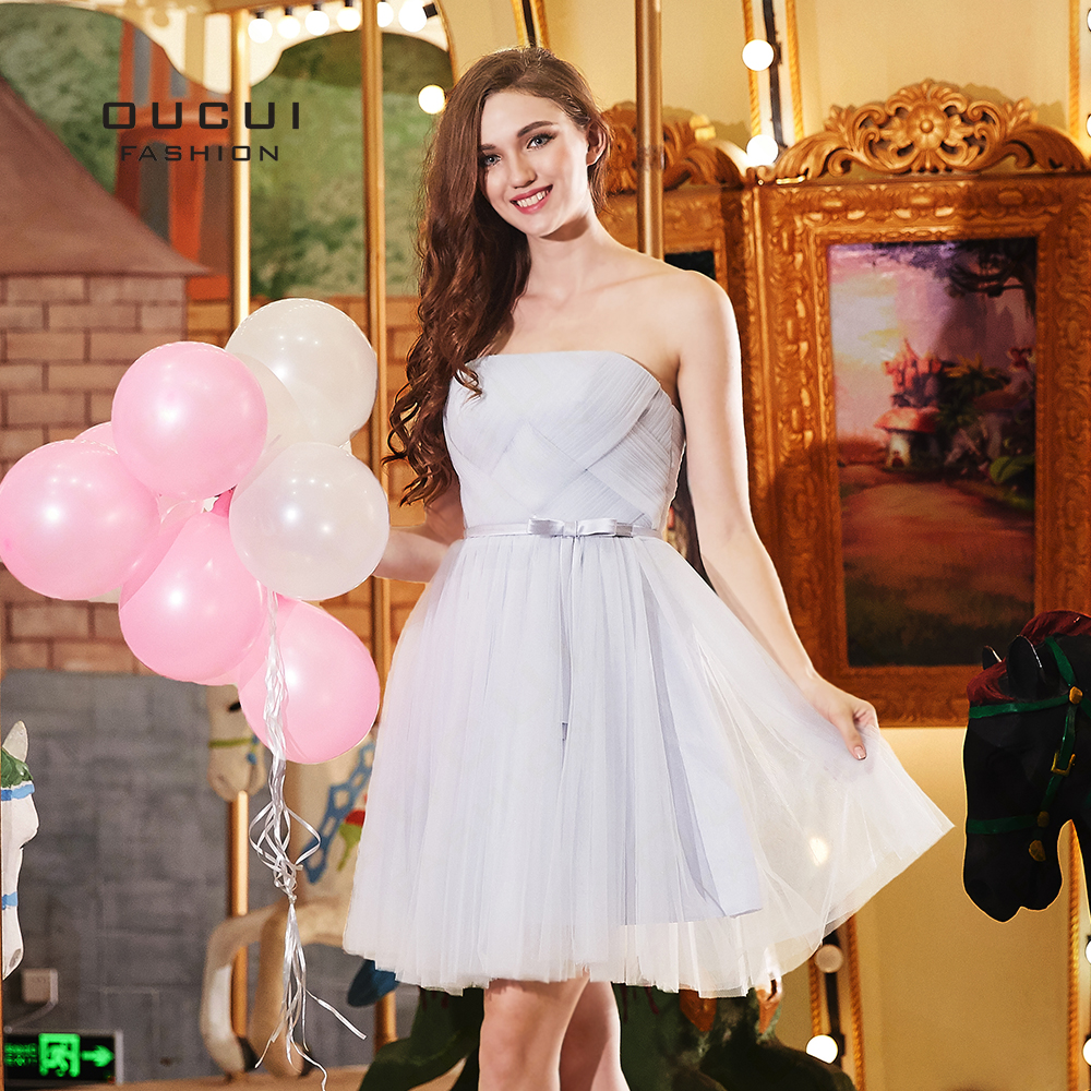 Oucui New Short Grey   Bridesmaid     Dresses   Women Wedding Party Wear Elegant Bridal Ball Gown Tulle   Dress   Backless Vestido OL103314