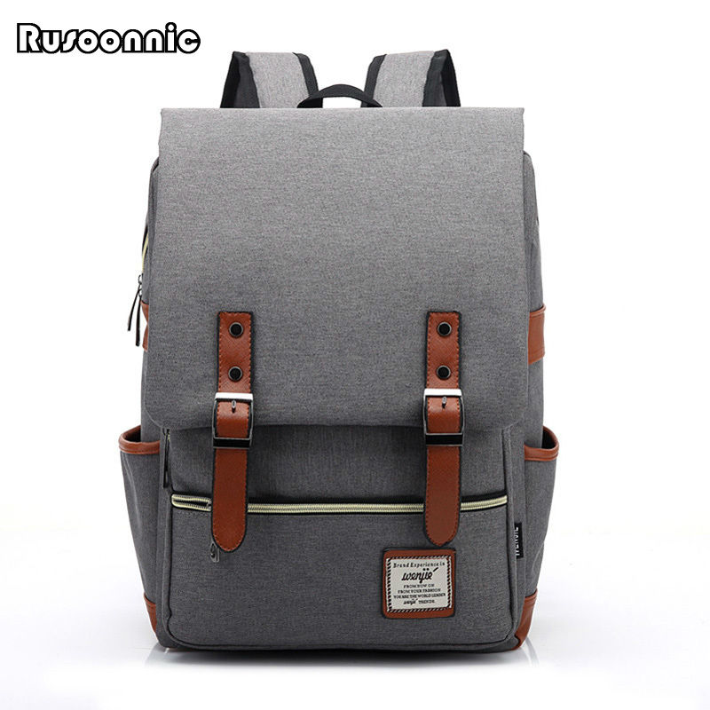 все цены на  Fashion Men Bag Canvas Backpack Women Oxford Travel Bags Retro Backpacks Teenager School Bag Women Famous Brands Mchila Mochilas  онлайн
