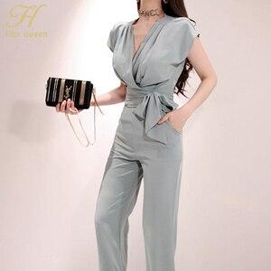 Image 4 - H han rainha novos ternos de 2 peças feminino 2019 verão elegante com decote em v rendas até colheita topo & cintura alta cor sólida calças compridas ol conjunto de trabalho