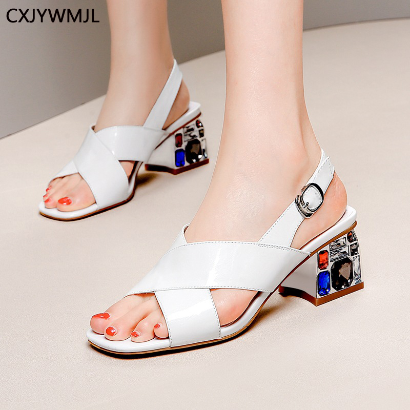 Leather Womens Sandals Summer Leather Chunky Heel Sandals Square Head Rhinestones With High-end Summer Womens ShoesLeather Womens Sandals Summer Leather Chunky Heel Sandals Square Head Rhinestones With High-end Summer Womens Shoes