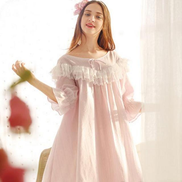 vintage Long-sleeve royal wind princess nightgown female aesthetic lotus leaf laciness loose sleepwear fairy robe dress AW315
