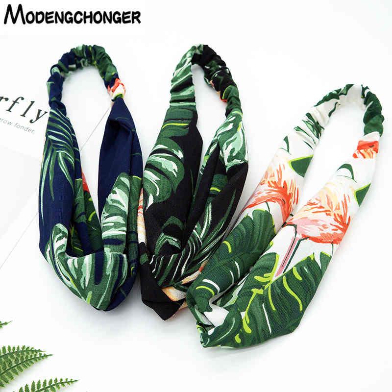 For Women Turban Banana Leaf Headband Flamingo Cross Knot Elastic Hair Bands Girls Fashion Summer   Headwear   Hair Accessories