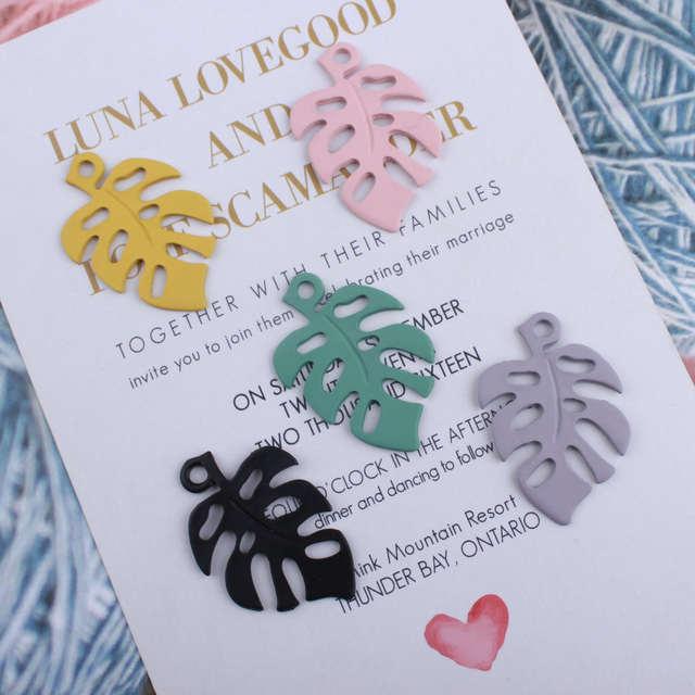 10pcs Diy Korean Accessories Spray Paint Baking Varnish Enamel Banana Leaf Charms Painted Color Alloy Small Pendant For Bracelet