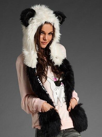 Free shipping Fashion hat female winter animal cap faux fur one piece cartoon cap belt scarf Christmas gifts
