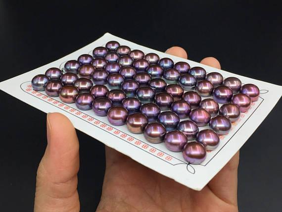 60 pièces 10-10.5mm paon violet perles demi-percé bouton rond perle Cabochons perles d'eau douce bijoux fournitures en gros AAA