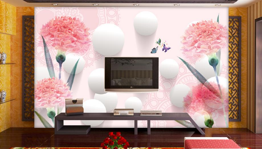 living Study Room Wallcoverings Modern-style Fresh and beautiful Pink flowers 3D Photo Wallpaper Backdrop Stereoscopic Murals blue earth cosmic sky zenith living room ceiling murals 3d wallpaper the living room bedroom study paper 3d wallpaper