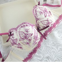 af8cf0d556 Sexy Women Floral Embroidery Push Up Padded Underwear Bra + Pant Set  Brassieres