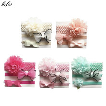 3Pcs Kids Elastic Flower Headband Girls Baby Bowknot Hairband Hair Accessories Set Photography Props