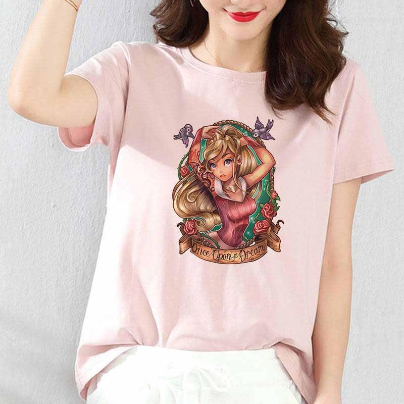 2019 新韓国ファッション女性ブラウスおかしいトップシャツ半袖ピンクの王女の女の子プリント夏のレトロな原宿フォローブラウス