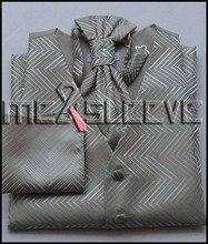 Men's Tuxedo Vest 4 Pieces Set – Vest with ascot Tie, Handkerchief
