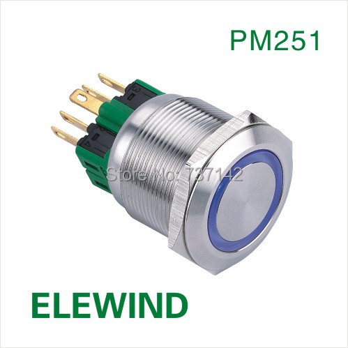 ELEWIND 25mm Ring illuminated  Latching push button switch(PM251F-11ZE/B/12V/S) elewind 22mm black illuminated power symbol push button switch pm221f 11zet b 12v a