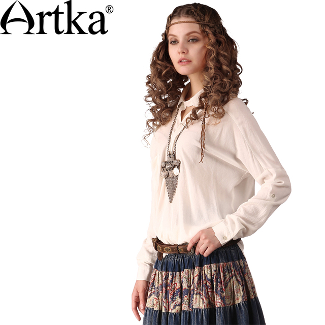 Artka Women's Autumn Retro Casual Loose All-Match Pointed Collar Draping Long Sleeve Square Pockets Cotton Blouse SA11349C