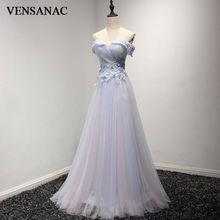 VENSANAC 2017 New A Line Lace Appliques Boat Neck Long Evening Dresses Short Cap Sleeve Elegant Draped Pleat Party Prom Gowns