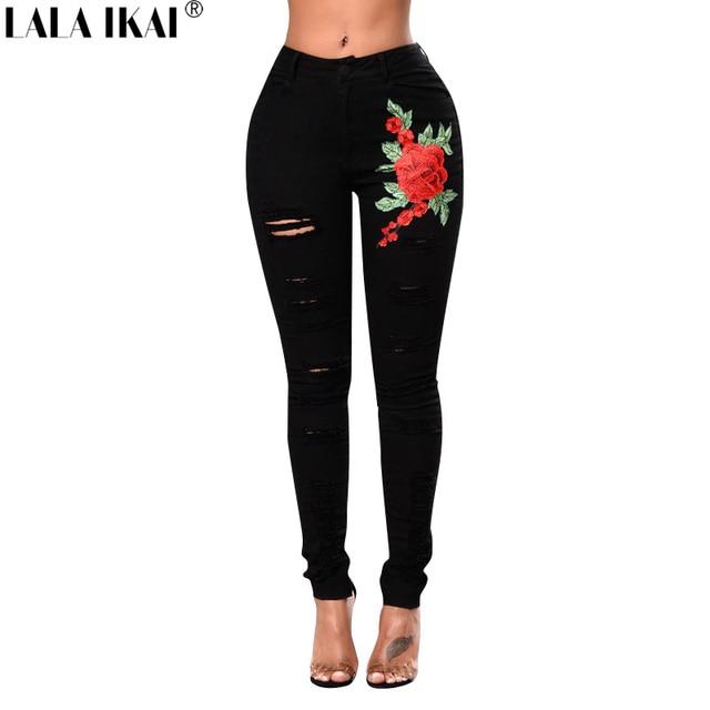 Aliexpress.com : Buy Cotton Black Jeans Ladies Hole Destroyed Hip ...