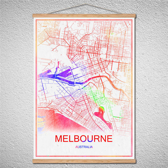 With Frame Melbourne World Map Canvas Oil Painting Modern City