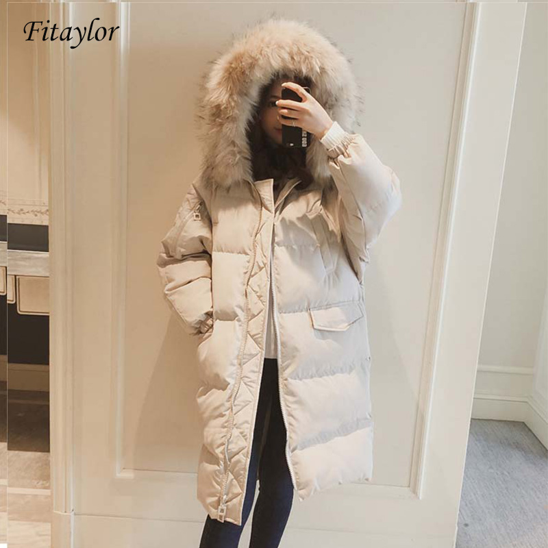 Fitaylor Winter Long Jacket Women Cotton   Parkas   Large Fur Collar Hooded Coat Casual Padded Warm Jackets Wadded Snow Overcoat