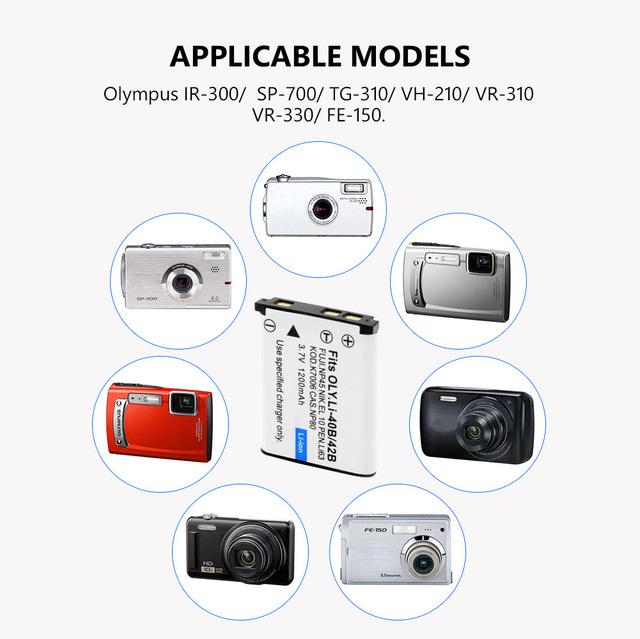 3.7V 1.2Ah Li-40B Li-42B Li 40B 42B Li40B Rechargeable Camera Battery for Olympus Li-42B Pentax D-Li63 Fuji NP-45 Nikon EN-EL10