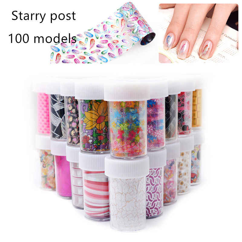 4pcs Full Beauty 100x4cm Xmas Pattern for Nail Sticker 3D Snowflake Star Laser Glitter Christmas Nail Art Transfer Foils