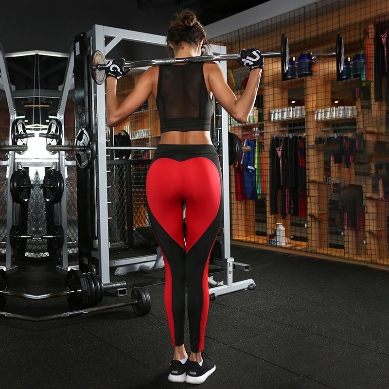 Didiopt Yoga Pantalon Patchwork Mignon Coeur Leggins Casquette Sport Course à Pied Pantalons Serrés Femmes de Remise En Forme Mince Gym Leggings P1510