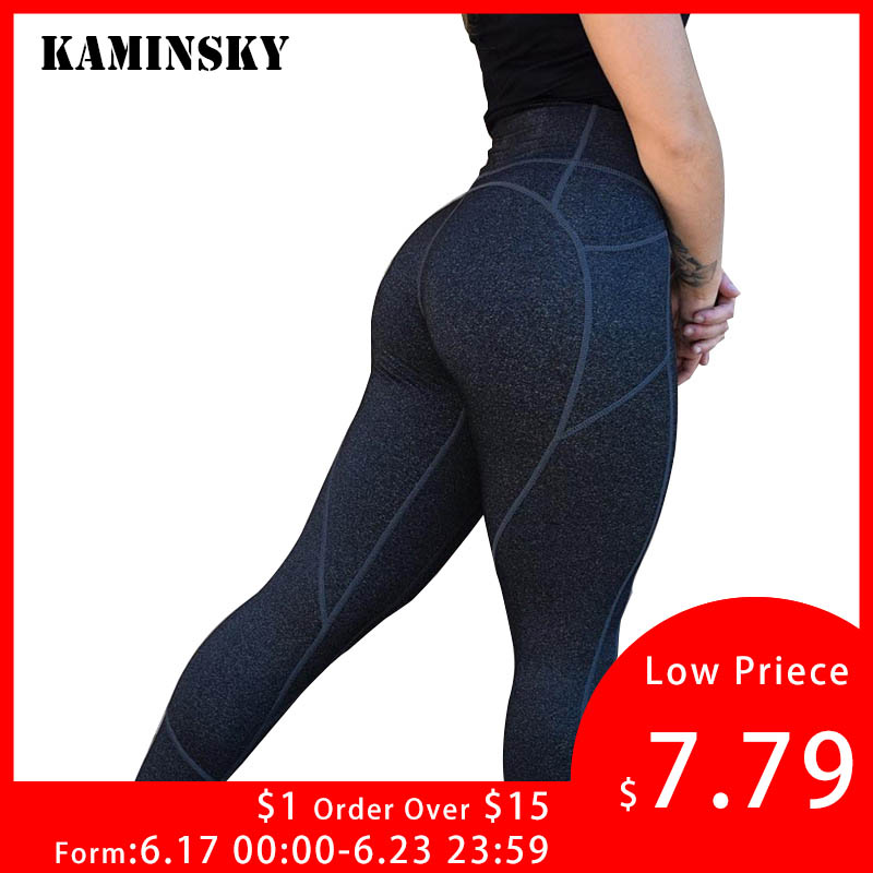 Kaminsky Sexy Push Up Black   Leggings   Women Fashion High Waist Workout Polyester   Leggings   Jeggings Slim Sporting   Leggings