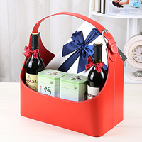 Leather Gift Hand Basket Storage Box for Wine/Sundries/Gifts Holiday Gift Basket Packing Box Home Decoration