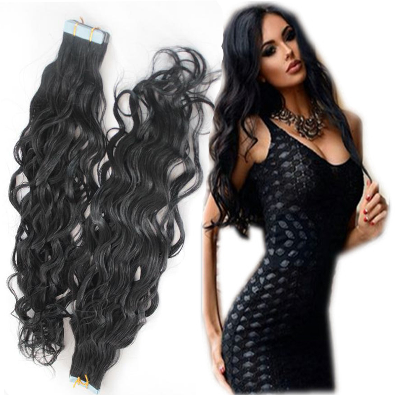 Free Shipping Wavy Tape Hair Extensions Virgin Brazilian Hair Tape